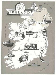 Ireland Map Art / Vintage Map Print / 1960s Map Wall Art / Old Map Illustration / Travel Wall Decor / Ireland Decor / Europe World Travel