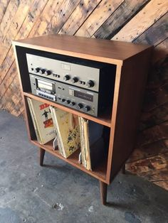 Mid Century Style Mini Credenza Record Stand with 3 record bays and me – The Hunt Vintage audio room vinyl records