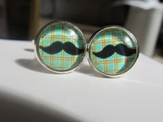 Tartan Plaid Moustache Mustach Mustache Glass by SilkStreetStudios, £8.99