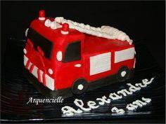 G�teau Camion de Pompier pour Alexandre 3ans P�te � sucre KIT croc'3D