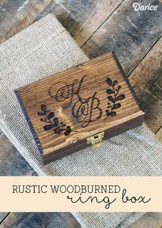 Rustic Wood-burned DIY Ring Box....Already has my initials on it