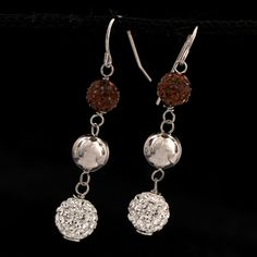 Shop SSilver Chocolate/White/Silver Swarovski Crystal Ball Drop Earrings and other jewelry, art, coins, rugs and real estate at www.aantv.com