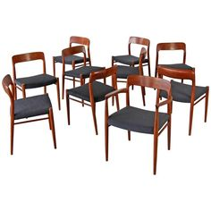 Set of Ten Teak Dining Chairs, Deigned by Niels O. Møller | From a unique…