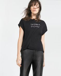 APPLIQUÉ TEXT TOP-Short Sleeve-T-shirts-WOMAN | ZARA United States