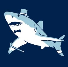 Sir Great White Shark: A fancy pants greatwhite, dressed to the nines and ready for a night out on the town Animal Dress Up, Shark Art, Shark T Shirt, Shark Bites, Great White Shark, Dressed To The Nines, Shark Week, Fancy Pants, Chibi