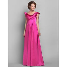Sheath/Column Off-the-shoulder Floor-length Satin And Chiffon Mother of the Bride Dress (618838)   – USD $ 179.99