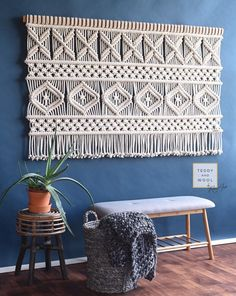 """The """"AVA"""" macrame tapestry features a modern landscape oriented geometric design, and is designed and handmade by fiber artist Ria. Macrame Wall Hanging Patterns, Large Macrame Wall Hanging, Macrame Plant Hangers, Macrame Art, Macrame Design, Hanging Art, Macrame Patterns, Macrame Projects, Macrame Knots"""