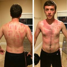 He seemed to think stick sun screen was a good idea.
