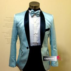 Buy Best Man Blue Satin Slim Fit Wedding Prom Tux Tuxedos Dress Suits SKU-123049