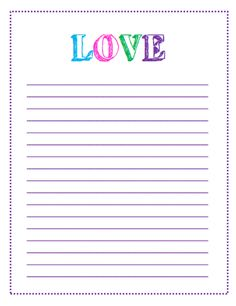 Block Letter LOVE Lined Paper Printable - I love this letter template! This and other printable letter paper and to do list templates available to print!
