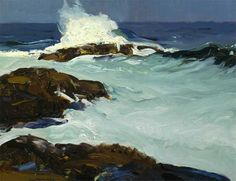 """""""Flaming Breaker,"""" George Wesley Bellows, 1913, Oil on panel, 15 x 19 1/2"""", Private collection."""