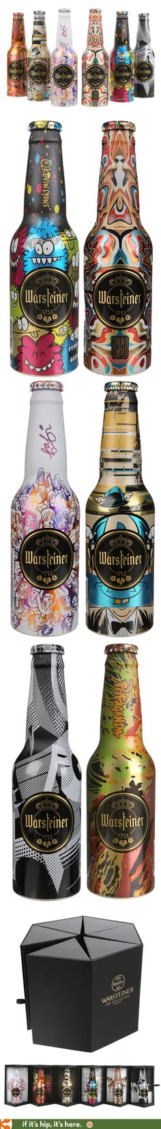 The 2014 Warsteiner Art Beer Collection. Six artist designed bottles by Kevin Lyons, Fafi, Ron English, D*Face, James Jean et Roids in one interesting package.