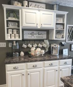 DIY Coffee Bar Ideas - Breathtaking drink stations in country style for small .DIY Coffee Bar Ideas - Breathtaking drink stations in country style for small rooms and small kitchens Kitchen Organization and Storage Coffee Bar Home, Home Coffee Stations, Coffee Bar Ideas, Coffee Nook, Kitchen Coffee Bars, Coffee Bar Design, Coffee Time, Coffee Kitchen Decor, Wine And Coffee Bar