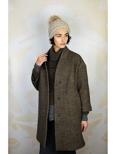 Jacket - Pomandere Cocoon Coat Dark Brown Sweater - Gary Graham Handknit Red Stripe Turtleneck Brown Skirt - Inhabit Cotton Tube Skirt Fuse Hat - Inverni Cable Knit Pompom Hat Beige