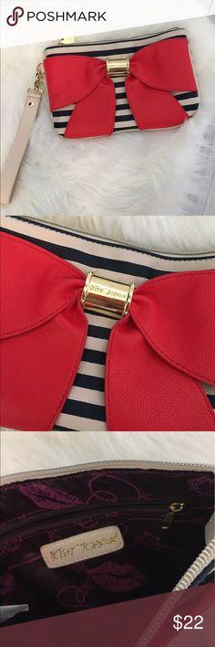 Betsey Johnson Wristlet Betsey Johnson Bow Striped Zipper Pouch Wristlet.    Gold details. Betsey Johnson Bags Clutches & Wristlets