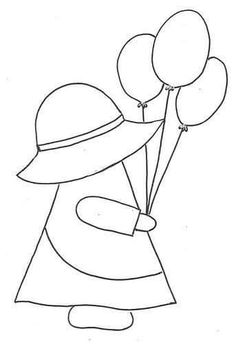 Sunbonnet Sue e balões by Moldes e Riscos, via Flicker Applique Templates, Applique Patterns, Applique Quilts, Applique Designs, Embroidery Applique, Quilting Designs, Machine Embroidery, Doily Patterns, Sunbonnet Sue