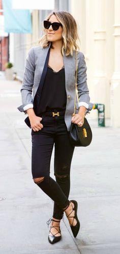 Lace up flat  + Grey blazer. Complete classy street Fashion