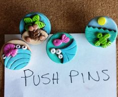 Push pins thumb tacks Tiny Island antiqued stained handmade polymer clay push pins ( 4 )
