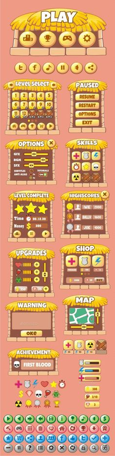 cartoon game gui pack 23 (Vector EPS, AI Illustrator, CS, alpha, android, assets, bar, button, cartoon, casual, concept, cool, design, elements, flash, frame, game, graphic, gui, html5, icon, interface, ios, iphone, mobile, pack, progress, prototype, rounded, symbol, template, vector, window)