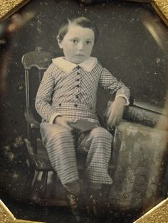 Dag Daguerreotype Photograph Fancy Dressed Young Boy Seated with Book | eBay