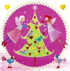 Christmas tree fairies Holiday Artist Illustration by www.MilaMarquis.com and www.Facebook.com/MilaMarquisillustration