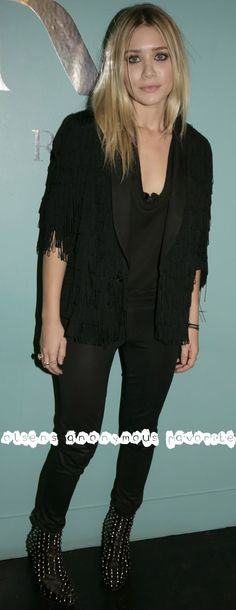 Olsens Anonymous Favorite | Ashley in an all black look with studded leather boots.
