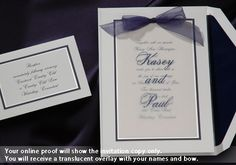 This bright white traditional wedding invitation card with a midnight and pearl border is a true classic and features your names on a translucent overlay Wedding Invitations by Wedding BeDazzle