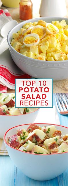 A popular side at parties and potlucks, you can't go wrong with these top-rated potato salad recipes. From classic German potato salad to dishes loaded with bacon, find a crowd-pleasing recipe from this collection! | Top 10 Potato Salad Recipes from Taste of Home