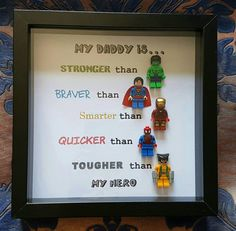 d23678637a0 Personalised super-hero daddy son uncle brother lego frame. 5 figs  Customise-Any characters