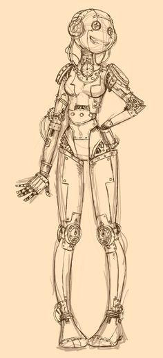 Robot- sketch on photoshop by Kawanai
