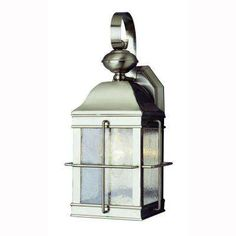 1-Light Brushed Nickel Outdoor Wall Coach Lantern with Seeded Glass
