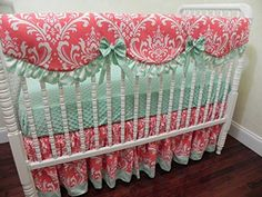 Nursery Bedding, Baby Girl Crib Bedding Set Faith, Scalloped Crib Rail Cover, Bumperless Crib Bedding, Coral and Mint Baby Bedding - Choose Your Pieces