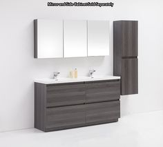 "Golden Elite Cabinets Bathroom Vanities - Brunswick Collection Modern / 60"" / Free Standing / Wood Imitation / Soft-Closing / Melamine"