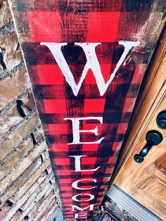 Buffalo Check Welcome Sign Wooden Welcome Signs, Porch Welcome Sign, Wooden Signs, Rustic Signs, Christmas Signs, Christmas Crafts, Christmas Ideas, Christmas Yard, Rustic Christmas