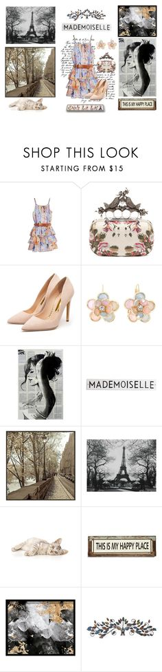 """""""*Paris... My happy place*"""" by hayashiayumi ❤ liked on Polyvore featuring GUESS by Marciano, Alexander McQueen, Rupert Sanderson, Mixit, Rosanna, Universal Lighting and Decor, Poncho & Goldstein, Oliver Gal Artist Co. and Home Decorators Collection"""