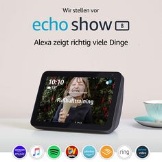 Echo Show 8 – Schermo intelligente HD da con Alexa Amazon Echo, Amazon Video, Radios, Appel Video, Beats Pill, Alexa App, Camera Cover, Album Cover, Tela