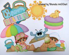 Summer Beach boy girl paper piecing set premade scrapbook page Rhonda rm613art
