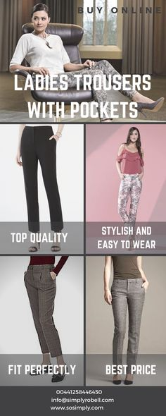 c5b054577ba75 Complete your look with our top quality ladies trousers with pockets.  Choose from our wide