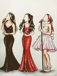 oh i love this the one on the right side is 2012 with her red hair, in the middle its 2013 with her gorgeous dress and on the right its 2014 with Ariana singing love me harder live
