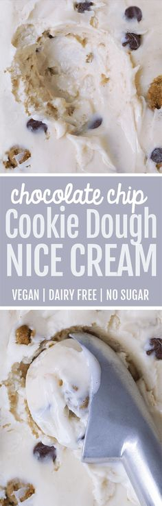 Creamy cookie dough nice cream – dairy free, vegan, & no added sugar. / makes 2 servings / 1 serving = 136 cal, 2.3g F, 29.6g C, 2.3g P