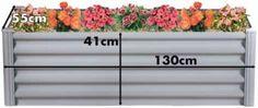 Rectangular Raised Garden Bed 130cmW x 55cmD x 41cmH Zincalume with measurements Hexies.