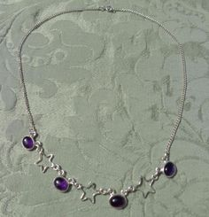 925 Silver Chain Necklace with Amethyst Cabochons and Stars 15 3/4 inches Lovely