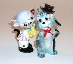 Dog Cat Salt & Pepper Shakers Vintage Kitsch Ceramic by beckandme, $12.75