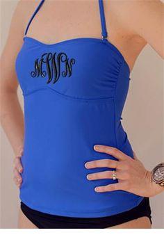 Monogrammed+Tankini++Bathing+Suit+Top+by+ShopModernMonograms,+$32.50