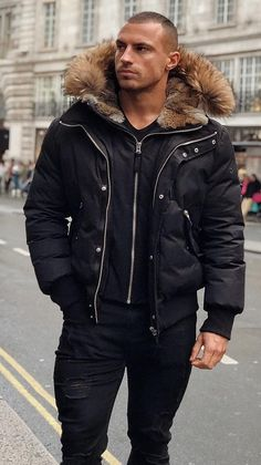 Bomber Jacket Men, Fur Jacket, Leather Jacket, Parka Men, Parka Jackets, Fur Coat, Stylish Mens Outfits, Casual Outfits, Men Casual