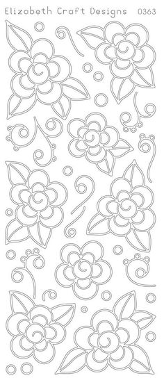 Elizabeth Craft Designs Peel-Off Sticker -0363B Flowers W/Doodles - Black