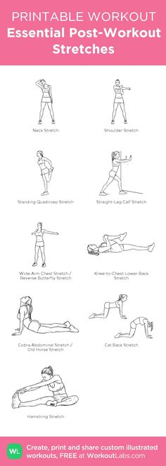 Essential Post-Workout Stretches \u2013 my custom workout created at http://WorkoutLabs.com \u2022 Click through to download as printable PDF! #customworkout #weightlossmotivation
