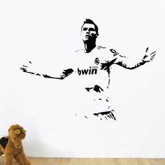 Free shipping Sports footballer wall stickers kids boys Lionel Cristiano Ronaldo after scoring of cheering room wall decor | #FootballJerseys #Kids