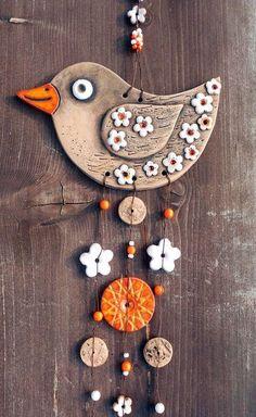 Singer Lantern / Seller's Goods Keramika Halama – Pastry World Clay Wall Art, Ceramic Wall Art, Ceramic Clay, Ceramic Painting, Clay Art Projects, Polymer Clay Projects, Diy Clay, Polymer Clay Jewelry, Clay Birds