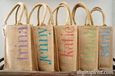 DIY Bachelorette Party Favor Bags - also can be used for any type gift bag on burlap or plain paper bags Bachelorette Gift Bags, Bachlorette Party, Bachelorette Weekend, Girls Weekend Gifts, Party Gift Bags, Before Wedding, Creations, Batman, Diy Party